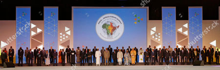 Standing bottom second left to right, Somali President Hassan Sheikh Mohamoud, South Sudan President Salva Kiir, Niger's President Mahamadou Issoufou, Sierra Leone's President Bai Koroma, Liberian President Ellen Johnson Sirleaf, Sudanese President Omar al-Bashir,Lesotho's Prime Minister Pakalitha Bethuel Mosisili, Nigeria's President Muhammadu Buhari, President of Senegal Macky Sall, Mauritania's President Mohamed Ould Abdel Aziz,Chad President Idriss Deby Itno, Swaziland's King Mswati III, Zimbabwe's President Robert Mugabe, Indian Prime Minister Narendra Modi, African Union Commission chairperson Nkosazana Dlamini-Zuma, Morocco's King Mohammed VI, Gabonese President Ali Bongo Ondimba, Egyptian President Abdel Fattah Al Sisi, Ethiopian Prime Minister Hailemariam Dessalegn, President of Uganda Yoweri Kaguta Museveni, President Ismail Omar Guelleh of Djibouti, Benin President Boni Yayi, Guinea's President Alpha Condé, President of Comoros Ikililou Dhoinine, President of Ghana John Dramani Mahama, President of Kenya Uhuru Kenyatta, President Hery Rajaonarimampianina of Madagascar, and standing top, left to right, are Central African Republic Ambasdor and Economic Advisor Julienne Desiree Gaudeuille, Togo's Foreign Minister Robert Dussey, unidentified, unidentified, unidentified, Cameroon's President Paul Biya, Tunisian foreign minister Taieb Baccouche, Indian Foreign Minister Sushma Swaraj, Rwanda's prime minister Anastase Murekezi, Zambia's Vice President Inonge Wina, Angola's Vice-President Manuel Domingos Vicente, Tanzanian deputy President Mohamed Gharib Bilal, Mauritius' Prime Minister Anerood Jugnauth, Namibian President Hage Geingob, Guinea-Bissau President Jose Mario Vaz, Congo's Foreign Minister Raymond Tshibanda, Vice President of Botswana Eric Keabetswe Masisi, Angola's Vice-President Manuel Domingos Vicente, Vice-President of Gambia Isatou Njie-Saidy, Prime Minister of Mozambique Carlos Agostinho do Rosario, Prime Minister of Sao Tome and Principe Patrice Emery Trovoada