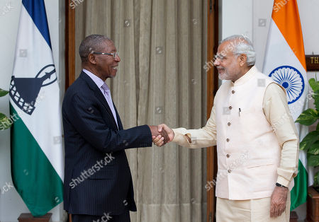 Stock Photo of Pakalitha Mosisili, Narendra Modi Lesotho Prime Minister Pakalitha Mosisili left, shakes hands with Indian Prime Minister Narendra Modi, before a bilateral meeting on the sidelines of the India Africa Forum Summit, in New Delhi, India