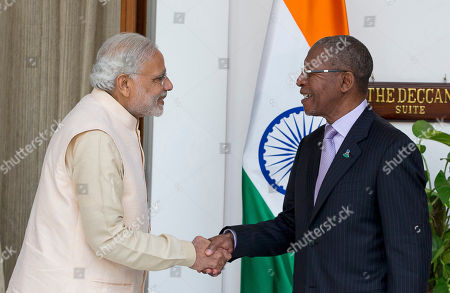 Stock Picture of Pakalitha Mosisili, Narendra Modi Lesotho Prime Minister Pakalitha Mosisili right, shakes hands with Indian Prime Minister Narendra Modi, before a bilateral meeting on the sidelines of the India Africa Forum Summit, in New Delhi, India