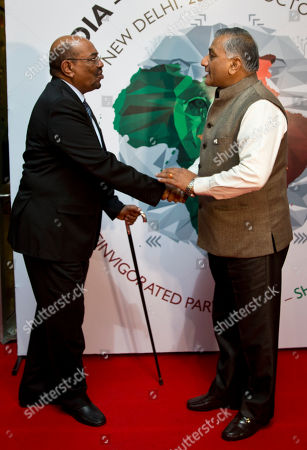 Omar Hassan Ahmad al-Bashir, Vijay Kumar Singh Sudan's President Omar Hassan Ahmad al-Bashir, left, is received by Indian Minister of State for External Affairs Vijay Kumar Singh as he arrives for the India Africa Forum Summit at the Indira Gandhi International airport in New Delhi, India, . More than 40 African leaders are in New Delhi for a summit, preceded by meetings of trade and foreign ministers from nearly all 54 African nations, to explore how Indian investment and technology can help a resurgent Africa face its development challenges