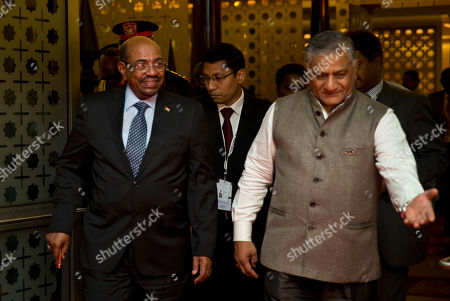 Omar Hassan Ahmad al-Bashir, Vijay Kumar Singh Sudan's President Omar Hassan Ahmad al-Bashir, left, is welcomed by Indian Minister of State for External Affairs Vijay Kumar Singh as he arrives for the India Africa Forum Summit at the Indira Gandhi International airport in New Delhi, India, . More than 40 African leaders are in New Delhi for a summit, preceded by meetings of trade and foreign ministers from nearly all 54 African nations, to explore how Indian investment and technology can help a resurgent Africa face its development challenges