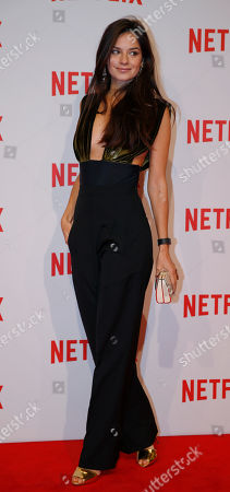 Actress Katy Louise Saunders attends the presentation of Netflix on-demand internet streaming media provider, in Milan, Italy