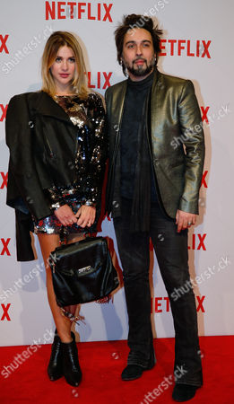 Singer Francesco Sarcina flanked by Clizia Incorvaia attends the presentation of Netflix on-demand internet streaming media provider, in Milan, Italy
