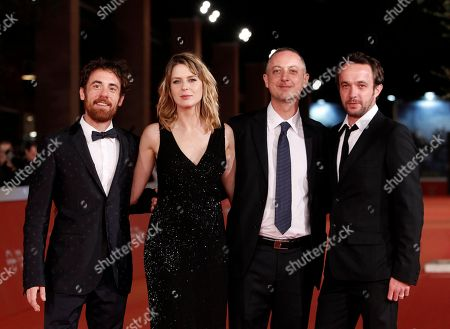 Elio Germano Elena Radonicich Claudio Cupellini Antoine Oppenheim Director Claudio Cupellini, second from right, poses with actors, from left, Elio Germano, Elena Radonicich and Antoine Oppenheim, right, on the red carpet for the screening of his movie Alaska, at Rome's Film Festival, in Rome