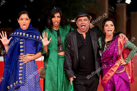 Stock Image of From left, actresses Sandhya Mridul, Anushka Manchanda, director Pan Nalin and actress Rajshri Deshpande arrive for the screening of the movie Angry Indian Goddesses, at Rome's Film Festival, in Rome