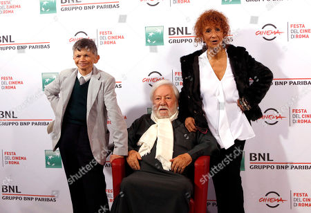 Plinio Fernando Paolo Villaggio Anna Mazzamauro From left, actors Plinio Fernando, Paolo Villaggio and Anna Mazzamauro pose for photographers on the occasion of its 40th anniversary from its release in the movie theaters, at Rome's Film Festival, in Rome