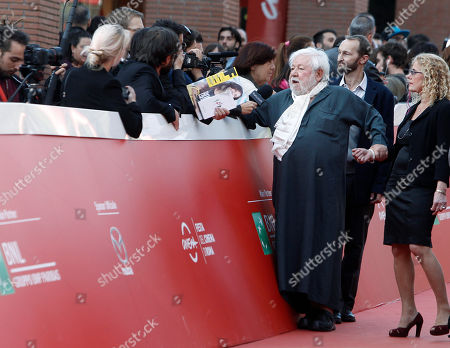Paolo Villaggio Actor Paolo Villaggio speaks with journalists on the red carpet for the tribute to the movie Fantozzi on the occasion of the 40th anniversary of its release, at Rome's Film Festival, in Rome