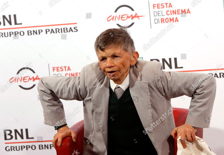 Stock Image of Plinio Fernando Actor Plinio Fernando poses for photographers during the photo call for the tribute of the movie Fantozzi on the occasion of its 40th anniversary, at Rome's Film Festival, in Rome