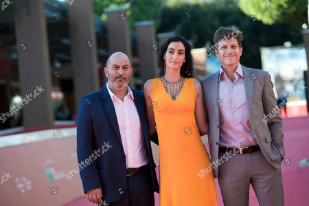 Assaf Bernstein, Lior Raz, Assaf Bernstein From left, actors Lior Raz, Laetitia Eido and director Assaf Bernstein pose for photographers on the occasion of the screening of the movie Fauda at Rome's Film Festival, in Rome