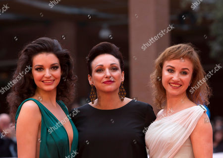 Maria Debska Kinga Debska Gabriela Muskala Director Kinga Debska, center, poses with actresses Maria Debska, left, and Gabriela Muskala, on the red carpet for the screening of her movie Moje Corky Krowi (These Daughters of Mine) at Rome's Film Festival, in Rome