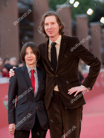 Stock Picture of Director Wes Anderson, right, and author Donna Tartt pose for photographers as they arrive on the red carpet of the Rome's Film Festival in Rome
