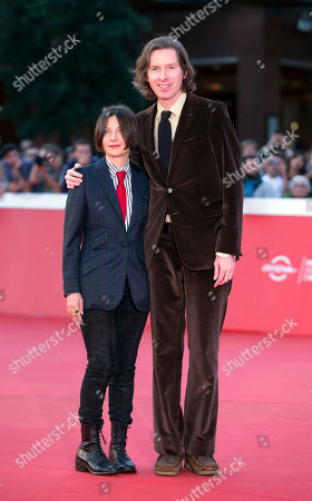 Director Wes Anderson, right, and author Donna Tartt pose for photographers as they arrive on the red carpet of the Rome's Film Festival in Rome
