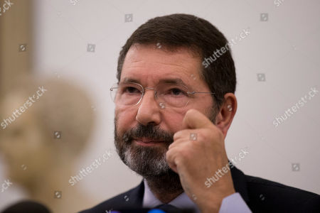 Ignazio Marino meets the media at Rome's Campidoglio Capitol Hill, . Just a day after rescinding his resignation, Rome's embattled mayor has acknowledged the end of his administration after the city council yanked its support