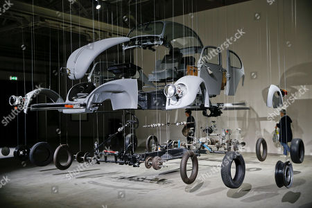 Cosmic Thing', an installation by artist Damian Ortega is displayed part of the 'Casino' exhibition, at Hangar Bicocca in Milan, Italy