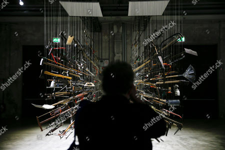 Controller of the Universe' an installation by artist Damian Ortega is displayed part of the 'Casino' exhibition, at Hangar Bicocca in Milan, Italy