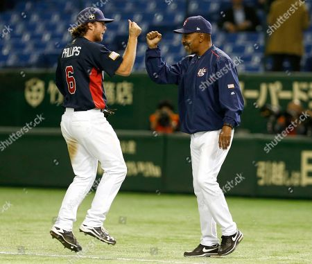 Willie Randolph, Brett Phillips Team USA manager Willie Randolph, right, celebrates with leftfielder Brett Phillips after beating Mexico 6-1 in their semifinal game at the Premier12 world baseball tournament at Tokyo Dome in Tokyo