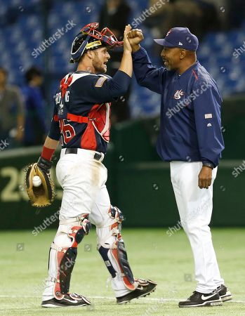 Dan Rohlfing, Willie Randolph USA catcher Dan Rohlfing holding the winning ball celebrates manager Willie Randolph, right, after beating Mexico 6-1 in their semifinal game at the Premier12 world baseball tournament at Tokyo Dome in Tokyo