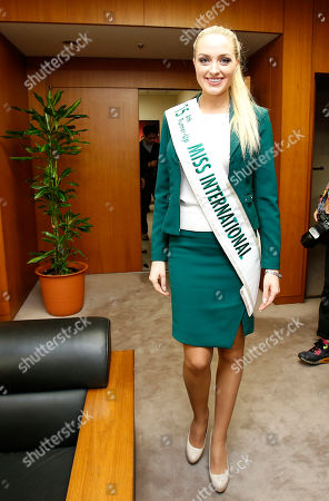 Lindsay Becker Miss USA Lindsay Becker enters the room of Yosuke Takagi, Japan's state minister of Economy, Trade and Industry, as 2015 Miss International runners-up pay a courtesy call on him in Tokyo