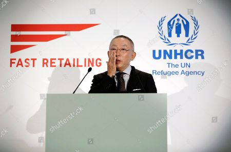 Tadashi Yanai Tadashi Yanai, chief executive of Fast Retailing Co., is filled with emotion while delivering a speech on a partnership with the United Nations High Commissioner for Refugees (UNHCR) to expand its support for refugees in Tokyo . The Japanese apparel company, Fast Retailing, announced a partnership with the UNHCR to expand its support for refugees, which includes internships and donations of funds and of recycled clothing
