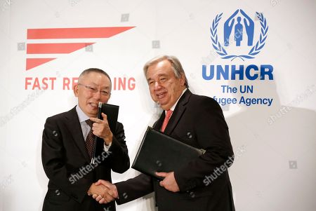 Antonio Guterres, Tadashi Yanai Antonio Guterres, right, United Nations High Commissioner for Refugees, and Tadashi Yanai, left, founder and president of Fast Retailing Co. shake hands in Tokyo . Guterres, says Japan should be doing more to help with the global catastrophe of asylum seekers. Guterres spoke at an event where the Japanese apparel company, Fast Retailing, announced a partnership with the UNHCR to expand its support for refugees, which includes internships and donations of funds and of recycled clothing