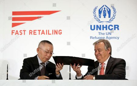 Antonio Guterres, Tadashi Yanai Antonio Guterres, right, United Nations High Commissioner for Refugees, and Tadashi Yanai, left, founder and president of Fast Retailing Co. exchange signed documents in Tokyo . Guterres, says Japan should be doing more to help with the global catastrophe of asylum seekers. Guterres spoke at an event where the Japanese apparel company, Fast Retailing, announced a partnership with the UNHCR to expand its support for refugees, which includes internships and donations of funds and of recycled clothing