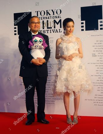 Haruka Shimazaki, Hideo Nakata Japanese actress Haruka Shimazaki, right, and director Hideo Nakata pose for photographers during the opening ceremony of the 28th Tokyo International Film Festival in Tokyo