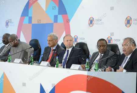 "Stock Photo of From left, Prime Minister of Barbados Freundel Stuart, President of Ghana John Dramani Mahama, Commonwealth Secretary General Kamalesh Sharma, Malta's Prime Minister Joseph Muscat, President of Kenya Uhuru Kenyatta and President of Nauru Baron Divavesi Waqa attend a press conference at conclusion of the Commonwealth Heads of Governments meeting in Ghajn Tuffieha, Malta, Saturday, 29 Nov. 2015. The 53-nation Commonwealth has said climate change poses an ""existential threat"" to some of its member states, and urged participants at the Paris climate talks to produce a legally binding agreement on cutting greenhouse gas emissions"