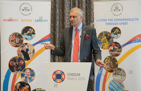 Stock Picture of Commonwealth Secretary General Kamalesh Sharma delivers his speech at the Commonwealth Sports Conference for CHOGM held in Ghajn Tuffieha, Malta, Sunday, 29, Nov. 2015