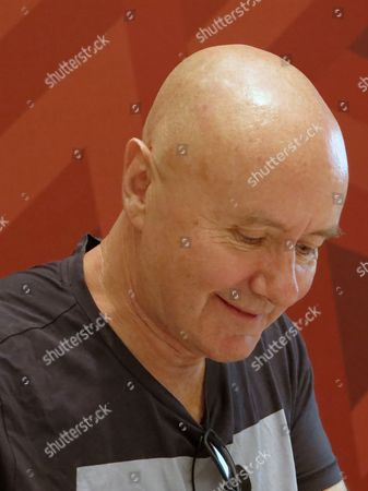 British author Irvine Welsh participates in a round table discussion at the Guadalajara International Book Fair, in Guadalajara, Mexico, . Welsh participated in the conference with the Mexican writer Guillermo Fadanelli