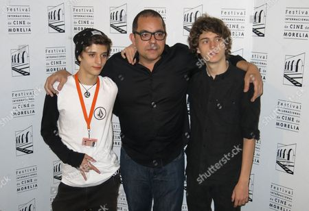 """Stock Image of Mexican actor Maximo Hollander, left, Venezuelan born director Jorge Hernandez Aldana, center, and Mexican actor Sebastian Aguirre pose for a portrait after the presentation of the film """"Los herederos"""" at the Morelia International Film Festival in Morelia, Mexico, . The film is about a group of wealthy and careless teenagers in Mexico"""