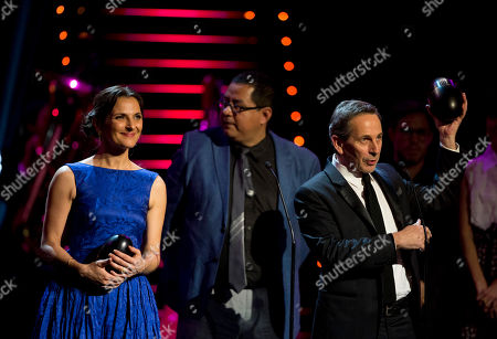 Antonia Zegers, Alfredo Castro Chilean actors Antonia Zegers, left, and Alfredo Castro, right, stand with other cast members as they accept the award for best film for El Club or The Club, at the Fenix Iberoamerican Film Awards at the Esperanza Iris Theater in Mexico City