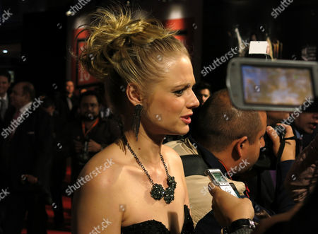 Stock Image of Ana Layevska Ukranian-Mexican actress Ana Layevska speaks to a reporter on the red carpet of the inauguration of the 13th edition of Morelia International Film Festival, in Morelia, Mexico, on