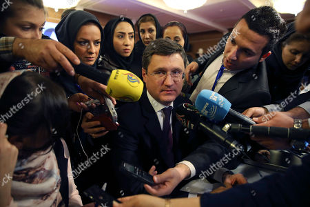 Alexander Novak Russian Energy Minister Alexander Novak speaks with media prior to start of Extraordinary Ministerial Meeting of Gas Exporting Countries Forum in Tehran