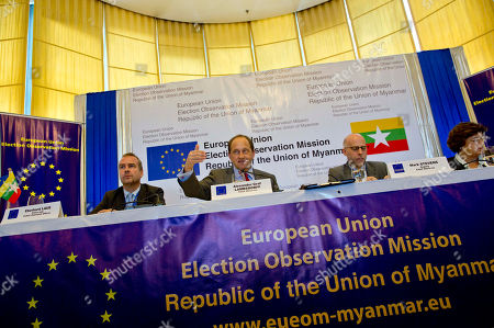 "Graf Lambsdorff European Union Election Observation Mission to Myanmar chief Alexander Graf Lambsdorff, second from left, speaks during a press briefing in Yangon, Myanmar, . Lambsdorff told reporters that the country had come a long way but ""more reforms are needed to ensure truly genuine elections"" in the future. He says one of the problems was the constitutional framework where one quarter of Parliament seats are reserved for the military, meaning only 75 percent are elected at the polls Others are from right, Ana Gomes, head of delegation, Mark Stevens, deputy chief observer, and Eberhard Laue, press officer"