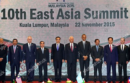 Barack Obama U.S. President Barack Obama and other leaders participate in the East Asia Summit family photo in Kuala Lumpur, Malaysia, . Obama is in Malaysia where he joins leaders from Southeast Asia to discuss trade and economic issues, and terrorism and disputes over the South China Sea. Other leaders are from left: India's Prime Minister Narendra Modi, Cambodia's Prime Minister Hun Sen, Australia's Prime Minister Malcolm Turnbull, Laos' Prime Minister Thongsing Thammavong, Chinese Premier Li Keqiang, Malaysia's Prime Minister Najib Razak, Obama, Brunei's Sultan Hassanal Bolkiah, Vietnam's Prime Minister Nguyen Tan Dung, and Russia's Prime Minister Dmitry Medvedev