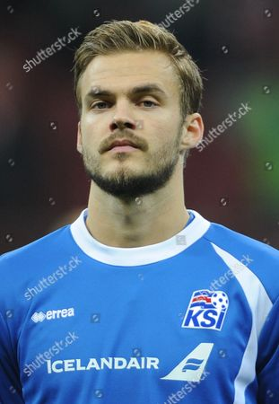 Stock Image of Holmar Orn Eyjolfsson Holmar Orn Eyjolfsson of the Iceland national soccer team prior to their friendly soccer match with Poland in Warsaw, Poland