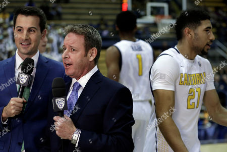 Ben Braun Pac-12 announcer Ben Braun, second from left, does his television spot on the court prior to the NCAA college basketball game between Rice and California, in Berkeley, Calif. Braun was a former basketball coach of both Rice and California