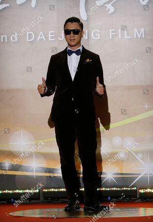 Stock Picture of Sun Honglei Chinese actor Sun Honglei poses for a photo call during the Daejong Film Awards in Seoul, South Korea