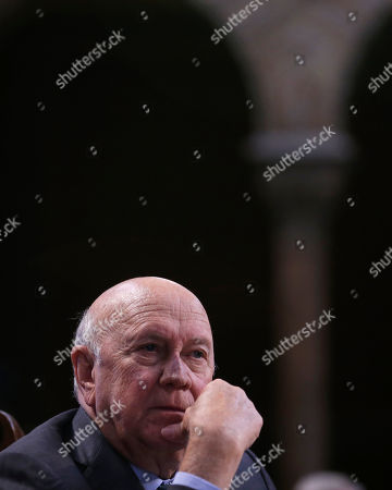 Stock Photo of Frederik Willem de Klerk Former South African president and Nobel Peace prize laureate FW (Frederik Willem) de Klerk looks on during the opening ceremony of the XV World Summit of Nobel Peace Laureates at the University in Barcelona, Spain