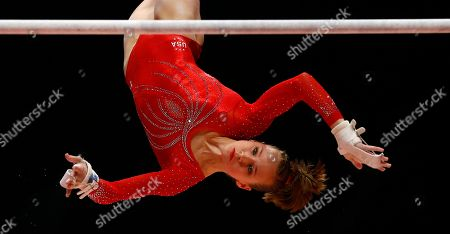 Madison Kocian United States' Madison Kocian performs during her uneven bars exercise in the women's team final competition at the World Artistic Gymnastics championships at the SSE Hydro Arena in Glasgow, Scotland. Kocian, who like Maggie Nichols won a pair of medals at worlds last fall, began March 2016 on crutches after two bones in her left ankle smacked together during a national team camp