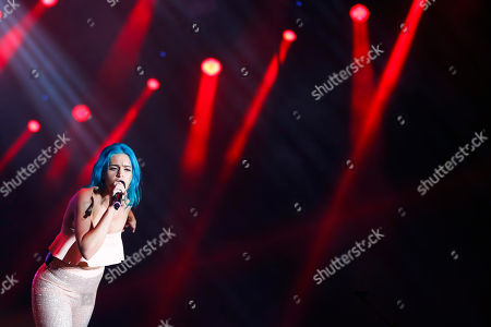 Amy Sheppard of the Australian band Sheppard performs at the Rock in Rio music festival in Rio de Janeiro, Brazil