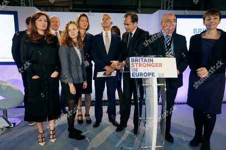 Sir Stuart Rose, campaign chairman, 4th from right, poses for pictures, with board members, left to right, businesswoman Karren Brady, former Metropolitan Police Commissioner Sir Hugh Orde, Student Darcy Levison, economist Stephanie Flanders, economist Roland Rudd, former TUC General Secretary Brendan Barber, and Green Party MP Caroline Lucas during the launch of the Britain Stronger in Europe campaign, at Brick Lane in London,. A referendum is expected to be held in the UK before the end of 2017 on whether Britain should remain part of the European Union