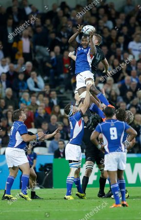 Namibia's Tijuee Uanivi wins a line out against New Zealand's Luke Romano during the Rugby World Cup Pool C match between New Zealand and Namibia at the Olympic Stadium, London