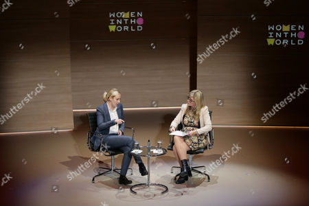 Mhairi Black MP speaks during the Women in the World Summit, with Daily Telegraph journalist Emma Barnett, right, at Cadogan Hall in London