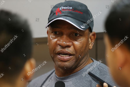 "Glenn ""Doc"" Rivers Los Angeles Clippers head coach Glenn ""Doc"" Rivers speak to media during a training session in Shenzhen, south China's Guangdong province, . The Charlotte Hornets will play with the Clippers on Oct. 11 in Shenzhen"