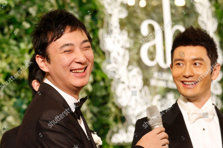 Huang Xiaoming, Wang Sicong Chinese millionaire Wang Sicong, left, laughs during the wedding of Chinese actor Huang Xiaoming, right, in Shanghai, China