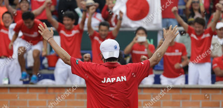 Taro Daniel Taro Daniel of Japan celebrates after defeating Alejandro Falla of Colombia during the Davis Cup World Group play-offs in Pereira, Colombia, . Taro won 7-6, 6-3, 6-2