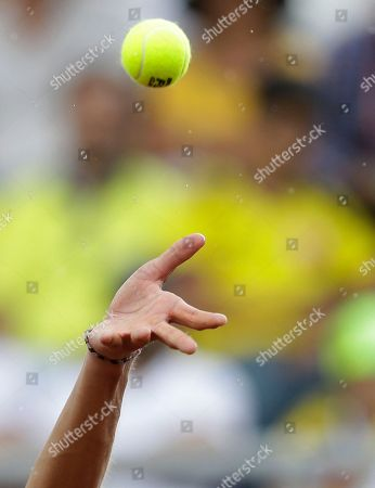 Taro Daniel Taro Daniel of Japan serves to Alejandro Falla of Colombia during the Davis Cup World Group play-offs in Pereira, Colombia, . Taro won the match, 7-6, 6-3, 6-2