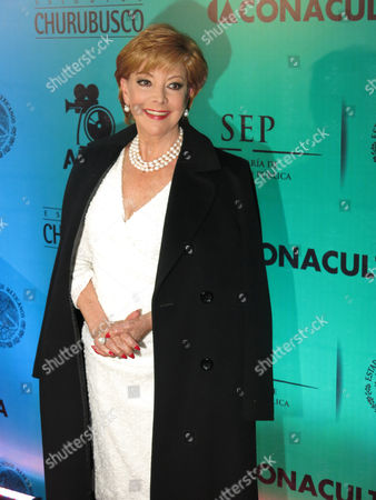 Stock Image of Jacqueline Andere Mexican actress Jacqueline Andere poses for a photo on the red carpet of Estudios Churubusco's gala, commemorating their 70th anniversary, in Mexico City, . Estudios Churubusco is the largest complex of movie studios in Latin America