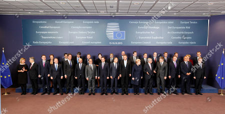 European Union heads of state and government pose for a group photo at an EU summit in Brussels on . Front row from left, European Union High Representative Federica Mogherini, Austrian Chancellor Werner Faymann, Estonian Prime Minister Taavi Roivas, Malta's Prime Minister Joseph Muscat, Dutch Prime Minister Mark Rutte, European Parliament President Martin Schultz, French President Francois Hollande, Luxembourg's Prime Minister Xavier Bettel, European Council President Donald Tusk, Romanian President Klaus Werner Iohannis, Lithuanian President Dalia Grybauskaite, European Commission President Jean-Claude Juncker, Slovakian Prime Minister Robert Fico, British Prime Minister David Cameron, Bulgarian Prime Minister Boyko Borisov and General Secretariat of the Council Jeppe Tranholm-Mikkelsen. Back row left to right, Latvian Prime Minister Laimdota Straujuma, Greek Prime Minister Alexis Tsipras, Croatian Prime Minister Zoran Milanovic, Danish Prime Minister Lars Lokke Rasmussen, Polish Prime Minister Ewa Kopacz, Hungarian Prime Minister Viktor Orban, Belgian Prime Minister Charles Michel, Spanish Prime Minister Mariano Rajoy, Swedish Prime Minister Stefan Lofven, Czech Republic's Prime Minister Bohuslav Sobotka, Slovenian Prime Minister Miro Cerar, Portuguese Prime Minister Pedro Passos Coelho, German Chancellor Angela Merkel and Finnish Prime Minister Juha Sipila